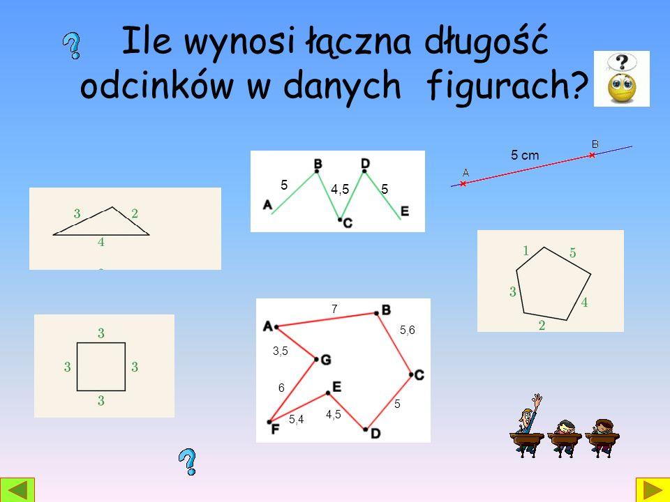 Ile wynosi łączna długość odcinków w danych figurach? 5 4,55 5,6 7 5 4,5 5,4 6 3,5 5 cm