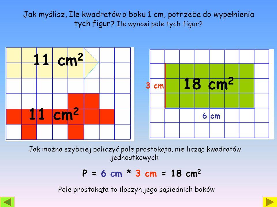 Jak myślisz, Ile kwadratów o boku 1 cm, potrzeba do wypełnienia tych figur? Ile wynosi pole tych figur? 11 cm 2 Jak można szybciej policzyć pole prost