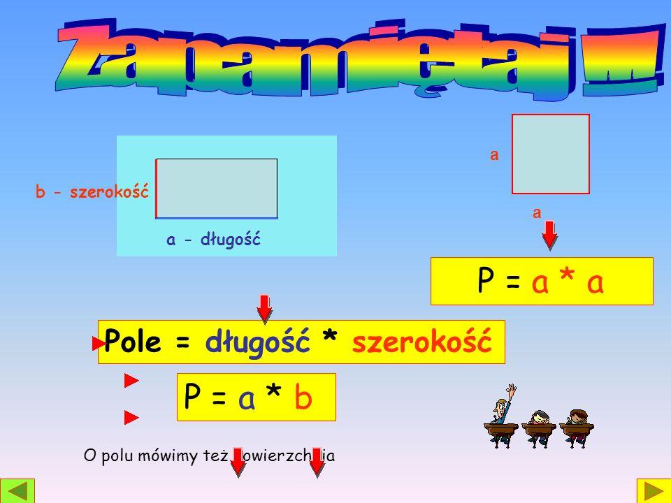 a a O polu mówimy też powierzchnia a - długość b - szerokość Pole = długość * szerokość P = a * b P = a * a