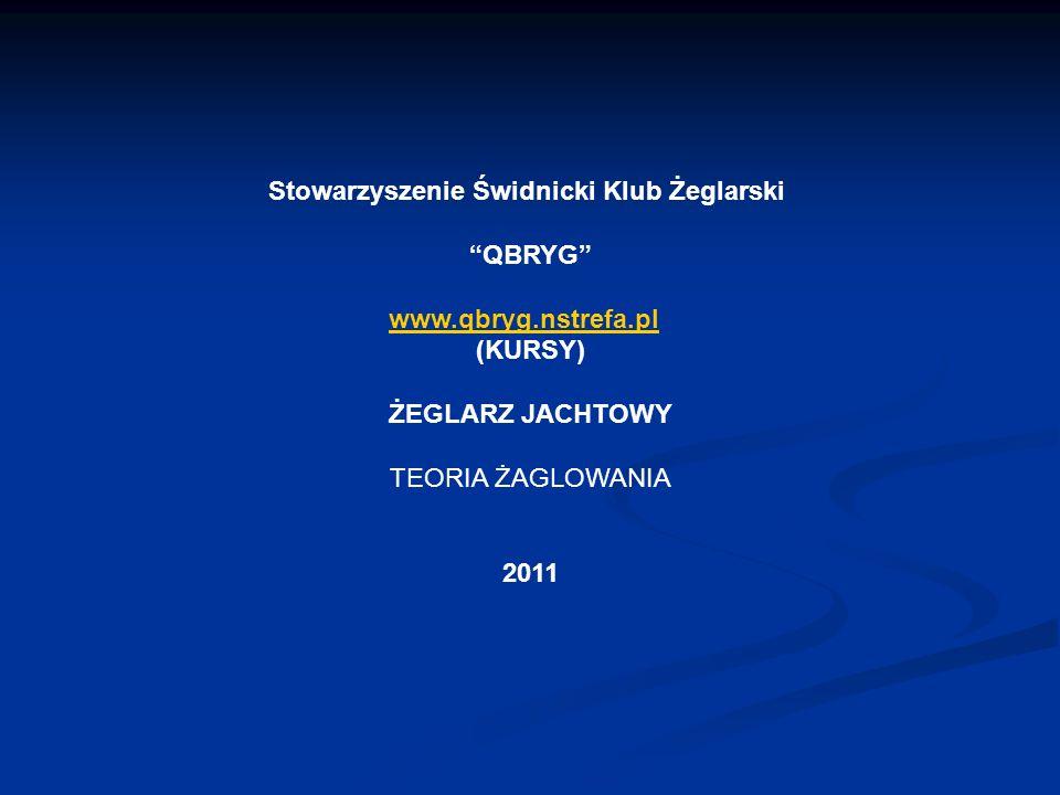 Stowarzyszenie Świdnicki Klub Żeglarski QBRYG www.qbryg.nstrefa.pl (KURSY) ŻEGLARZ JACHTOWY TEORIA ŻAGLOWANIA 2011
