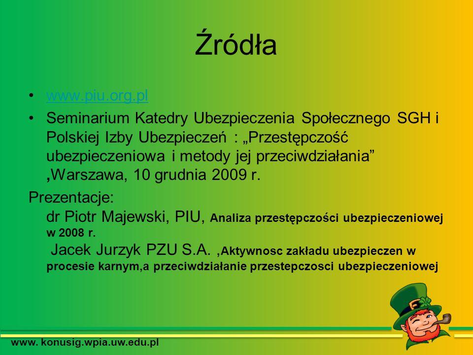 Źródła www.piu.org.pl Seminarium Katedry Ubezpieczenia Społecznego SGH i Polskiej Izby Ubezpieczeń : Przestępczość ubezpieczeniowa i metody jej przeci