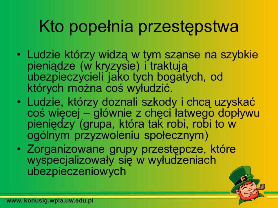 Rozmiar przestępczości ubezpieczeniowej www. konusig.wpia.uw.edu.pl