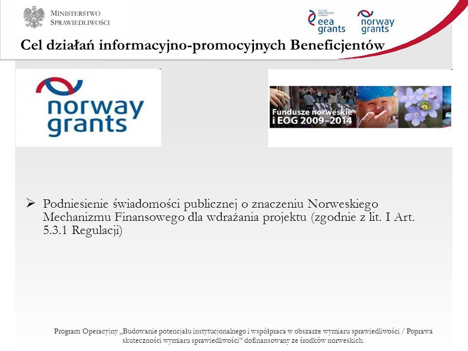 Cel działań informacyjno-promocyjnych Beneficjentów Podniesienie świadomości publicznej o znaczeniu Norweskiego Mechanizmu Finansowego dla wdrażania p