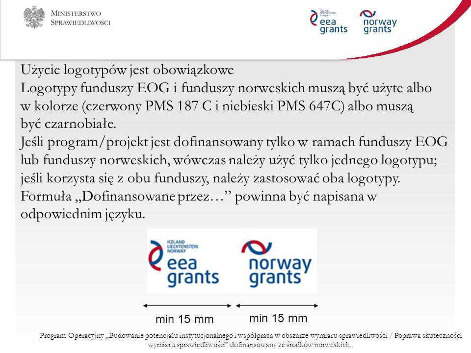 Użycie logotypów jest obowiązkowe Logotypy funduszy EOG i funduszy norweskich muszą być użyte albo w kolorze (czerwony PMS 187 C i niebieski PMS 647C)