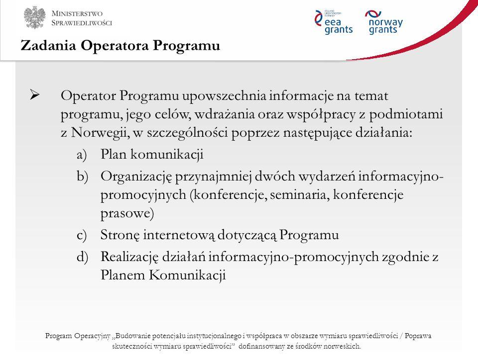 Zadania Operatora Programu Operator Programu upowszechnia informacje na temat programu, jego celów, wdrażania oraz współpracy z podmiotami z Norwegii,