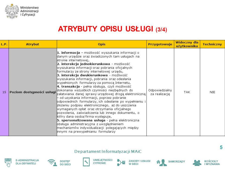 Departament Informatyzacji MAiC 6 ATRYBUTY OPISU USŁUGI (4/4) L.P.AtrybutOpisPrzygotowuje Widoczny dla użytkownika Techniczny 16Identyfikator Unikalny identyfikator usługi nadawany centralnie, obowiązujący na terenie całego kraju MAiCNIETAK 17Właściwość miejscowa Opis sposobu wyznaczania organu właściwego do realizacji usługi Odpowiedzialny za opis NIETAK 18Słowa kluczowe Słowa i określenia bliskoznaczne, pozwalające wyszukać daną usługę Odpowiedzialny za opis NIETAK 19 Data początku obowiązywania Data początku obowiązywania usługi wynikająca z regulacji prawnych (opcjonalne) Odpowiedzialny za opis TAK 20Data końca obowiązywania Data końca obowiązywania usługi wynikająca z regulacji prawnych (opcjonalne) Odpowiedzialny za opis TAK 21Informacje dodatkowe Ważne informacje, kt ó re nie zostały ujęte w pozostałych polach Odpowiedzialny za opis TAKNIE 22 … Pozostałe pola z karty usługi ePUAP doprecyzowujące dane teleadresowe organu realizującego daną usługę Odpowiedzialny z realizację TAKNIE