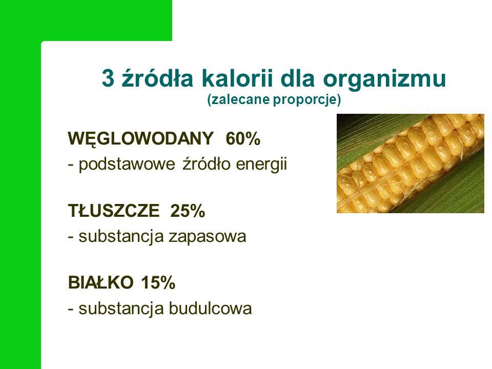 3 źródła kalorii dla organizmu (zalecane proporcje) WĘGLOWODANY 60% - podstawowe źródło energii TŁUSZCZE 25% - substancja zapasowa BIAŁKO 15% - substa