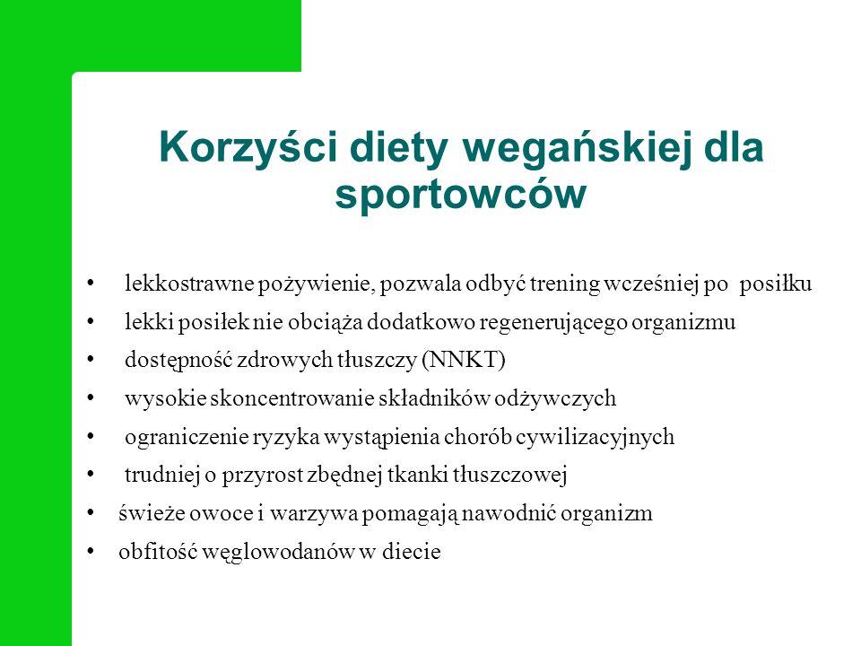 Korzyści diety wegańskiej dla sportowców lekkostrawne pożywienie, pozwala odbyć trening wcześniej po posiłku lekki posiłek nie obciąża dodatkowo regen