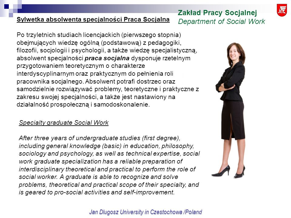 Jan Dlugosz University in Czestochowa /Poland Specialty graduate Social Work After three years of undergraduate studies (first degree), including gene