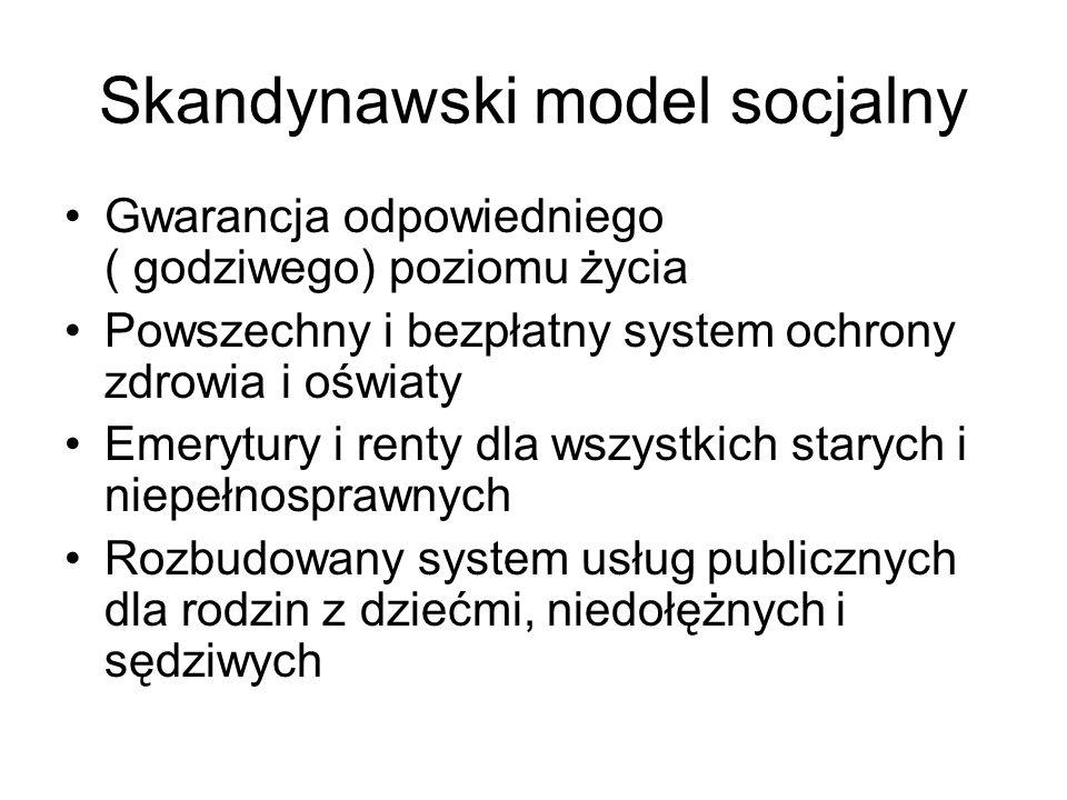 Skandynawski model socjalny Gwarancja odpowiedniego ( godziwego) poziomu życia Powszechny i bezpłatny system ochrony zdrowia i oświaty Emerytury i ren