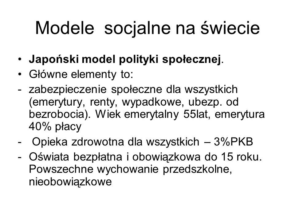 Modele socjalne na świecie Japoński model polityki społecznej. Główne elementy to: -zabezpieczenie społeczne dla wszystkich (emerytury, renty, wypadko