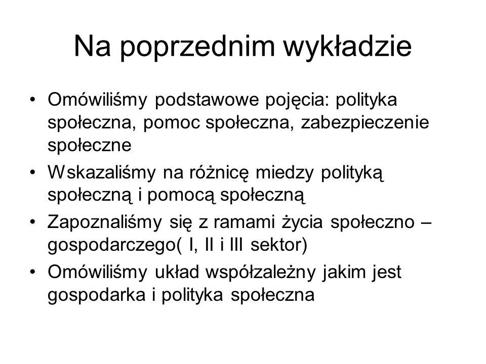 Na poprzednim wykładzie Omówiliśmy podstawowe pojęcia: polityka społeczna, pomoc społeczna, zabezpieczenie społeczne Wskazaliśmy na różnicę miedzy pol