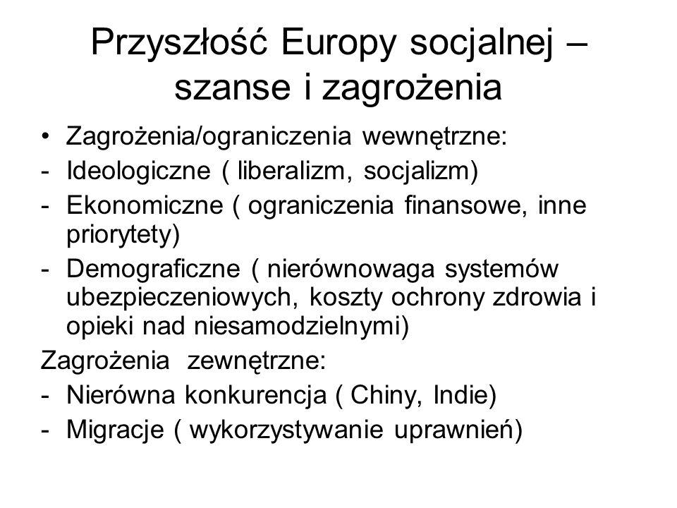 Przyszłość Europy socjalnej – szanse i zagrożenia Zagrożenia/ograniczenia wewnętrzne: -Ideologiczne ( liberalizm, socjalizm) -Ekonomiczne ( ograniczen