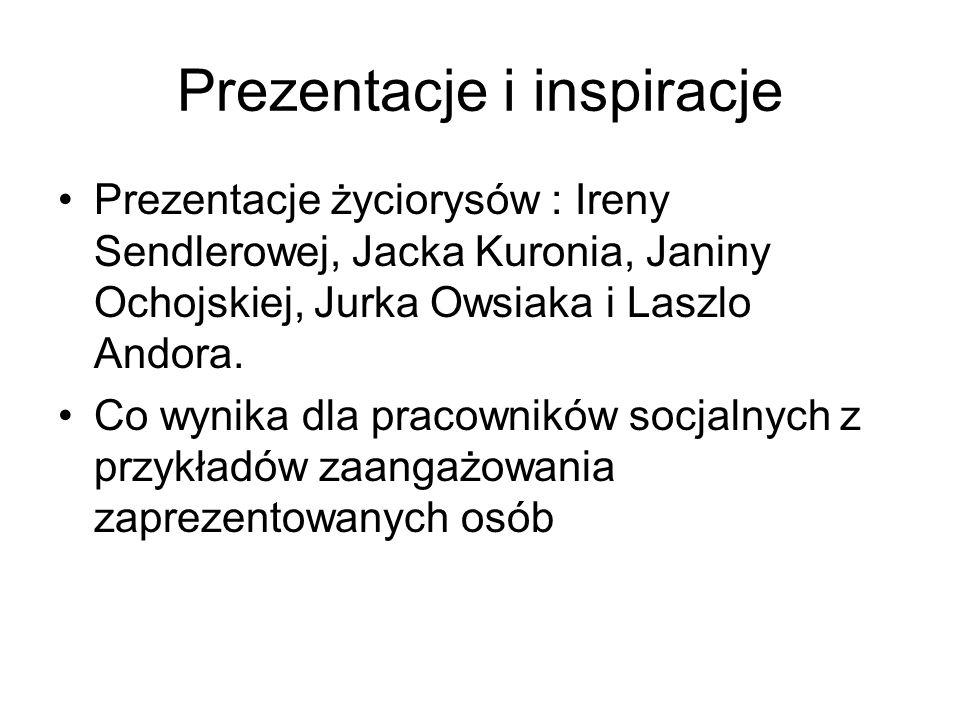Prezentacje i inspiracje Prezentacje życiorysów : Ireny Sendlerowej, Jacka Kuronia, Janiny Ochojskiej, Jurka Owsiaka i Laszlo Andora. Co wynika dla pr