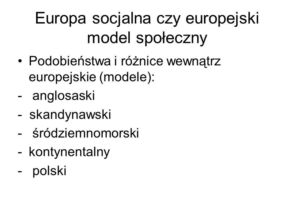 Europa socjalna czy europejski model społeczny Podobieństwa i różnice wewnątrz europejskie (modele): - anglosaski - skandynawski - śródziemnomorski -k