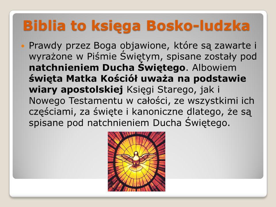 Biblia to księga Bosko-ludzka Prawdy przez Boga objawione, które są zawarte i wyrażone w Piśmie Świętym, spisane zostały pod natchnieniem Ducha Święte
