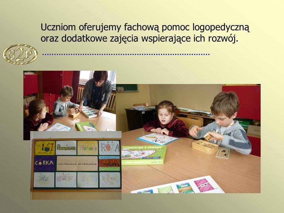 Uczniom oferujemy fachową pomoc logopedyczną oraz dodatkowe zajęcia wspierające ich rozwój.