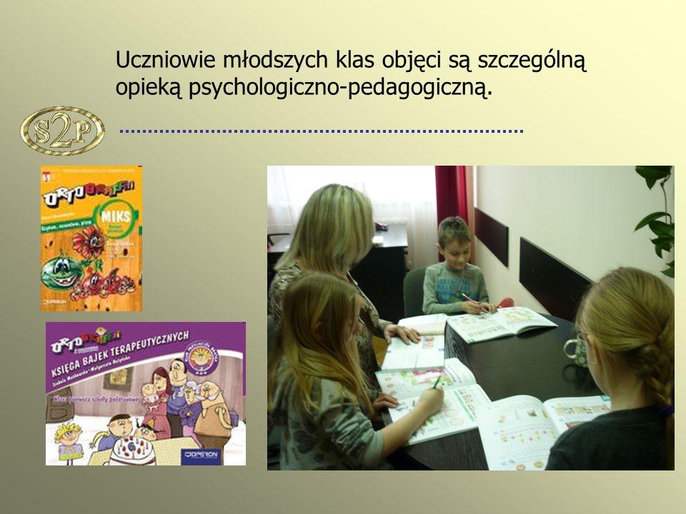 Uczniowie młodszych klas objęci są szczególną opieką psychologiczno-pedagogiczną.