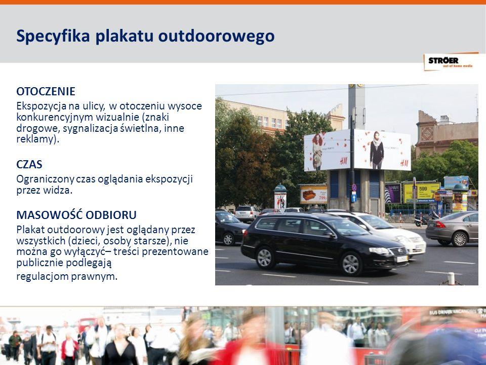 Specyfika plakatu outdoorowego OTOCZENIE Ekspozycja na ulicy, w otoczeniu wysoce konkurencyjnym wizualnie (znaki drogowe, sygnalizacja świetlna, inne reklamy).