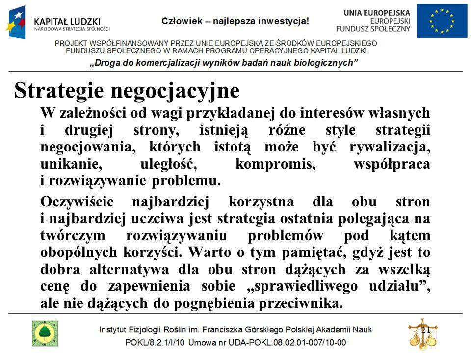 21 Strategie negocjacyjne W zależności od wagi przykładanej do interesów własnych i drugiej strony, istnieją różne style strategii negocjowania, których istotą może być rywalizacja, unikanie, uległość, kompromis, współpraca i rozwiązywanie problemu.