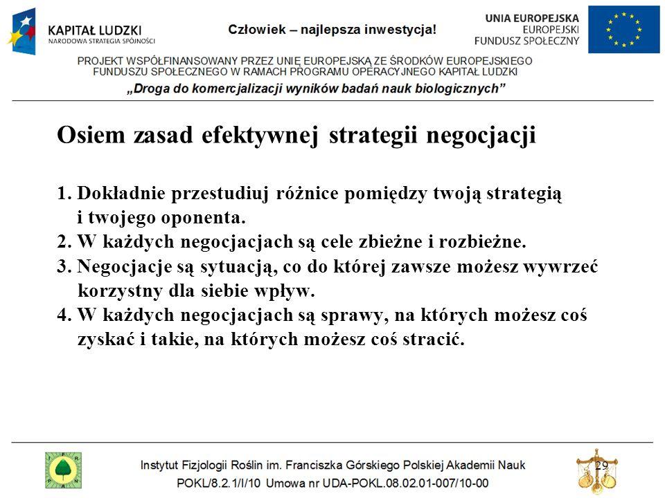 29 Osiem zasad efektywnej strategii negocjacji 1. Dokładnie przestudiuj różnice pomiędzy twoją strategią i twojego oponenta. 2. W każdych negocjacjach