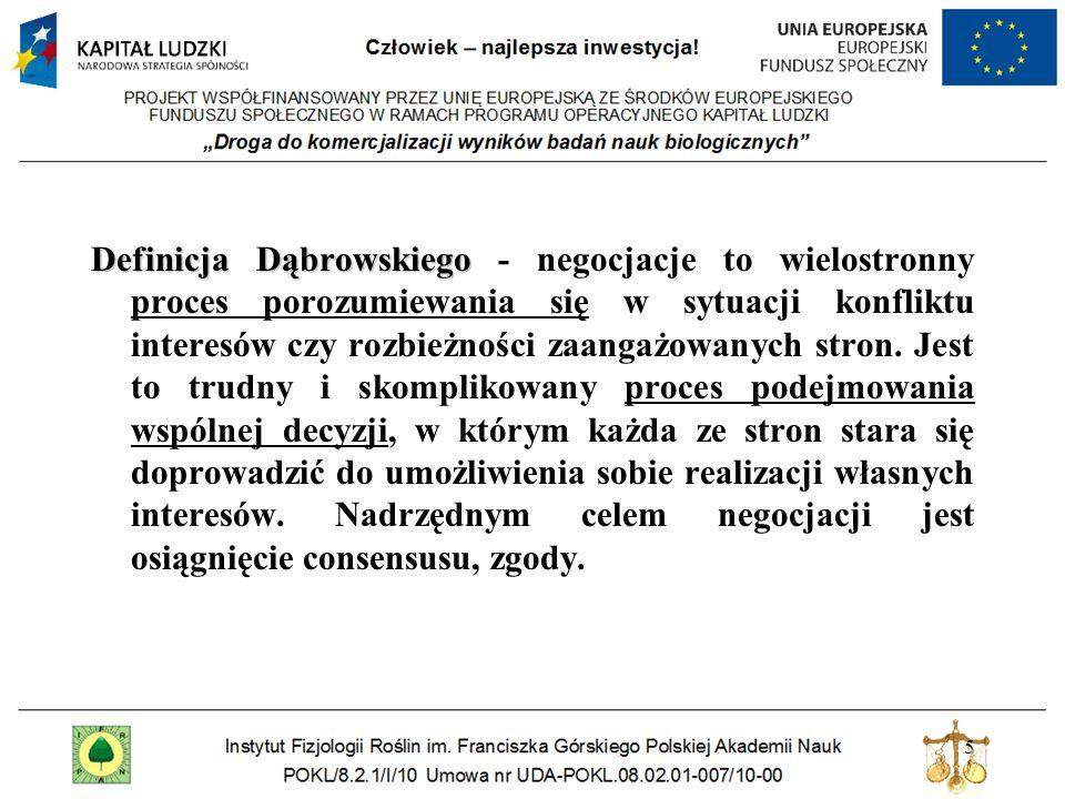 5 Definicja Dąbrowskiego Definicja Dąbrowskiego - negocjacje to wielostronny proces porozumiewania się w sytuacji konfliktu interesów czy rozbieżności zaangażowanych stron.