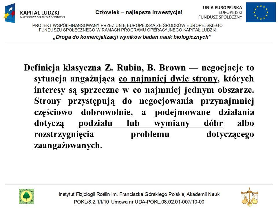6 Definicja klasyczna Z. Rubin, B. Brown Definicja klasyczna Z. Rubin, B. Brown negocjacje to sytuacja angażująca co najmniej dwie strony, których int