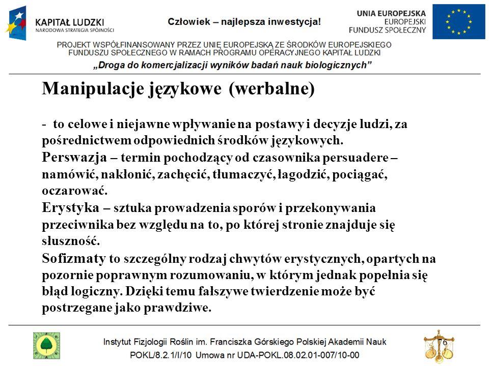 76 Manipulacje językowe (werbalne) - to celowe i niejawne wpływanie na postawy i decyzje ludzi, za pośrednictwem odpowiednich środków językowych. Pers