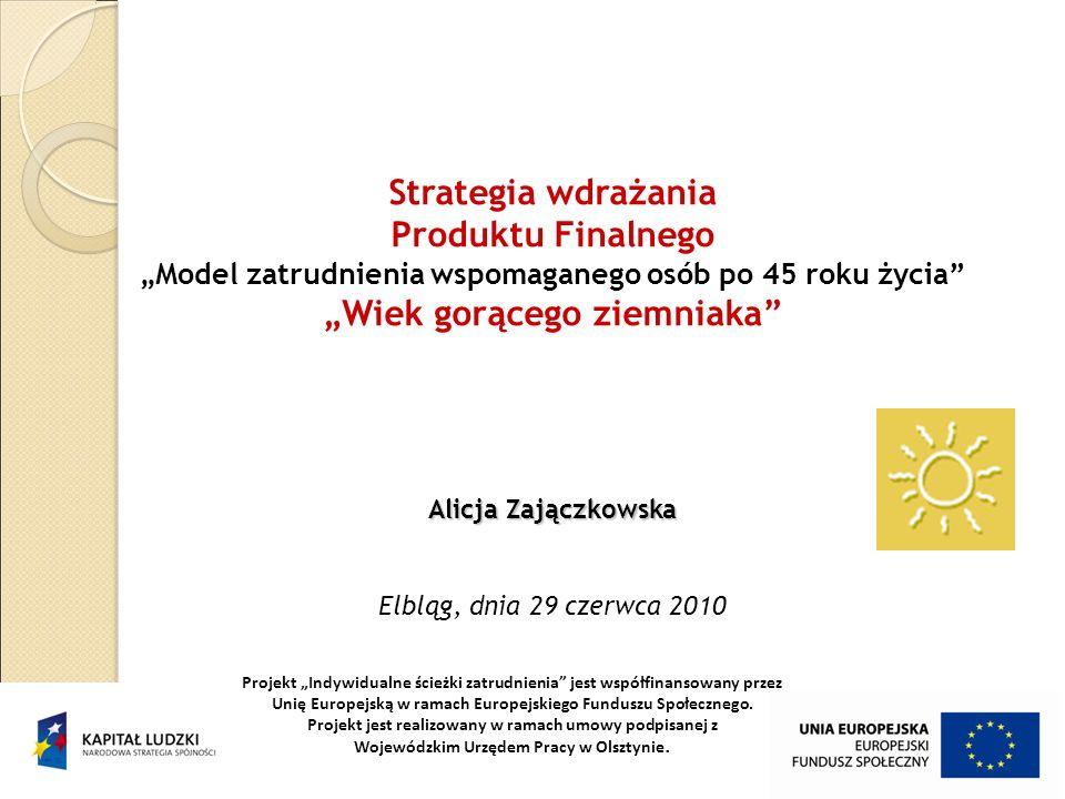 Strategia wdrażania Produktu Finalnego Model zatrudnienia wspomaganego osób po 45 roku życia Wiek gorącego ziemniaka Alicja Zajączkowska Alicja Zającz