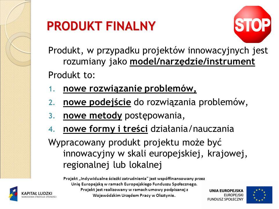 PRODUKT FINALNY Produkt, w przypadku projektów innowacyjnych jest rozumiany jako model/narzędzie/instrument Produkt to: 1. nowe rozwiązanie problemów,
