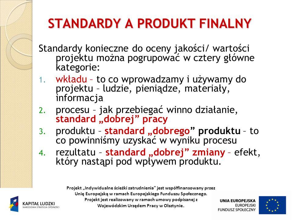27 STANDARDY A PRODUKT FINALNY Standardy konieczne do oceny jakości/ wartości projektu można pogrupować w cztery główne kategorie: 1. wkładu – to co w