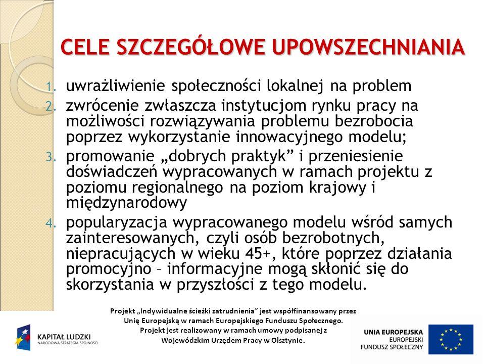 CELE SZCZEGÓŁOWE UPOWSZECHNIANIA 1. uwrażliwienie społeczności lokalnej na problem 2. zwrócenie zwłaszcza instytucjom rynku pracy na możliwości rozwią