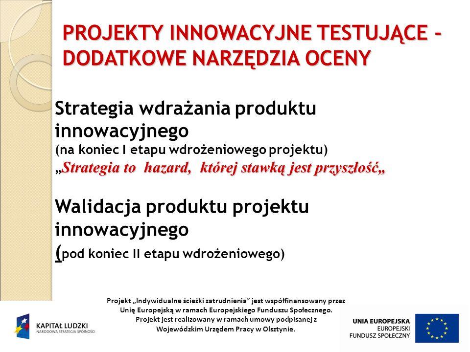 Strategia to hazard, której stawką jest przyszłość Strategia wdrażania produktu innowacyjnego (na koniec I etapu wdrożeniowego projektu) Strategia to