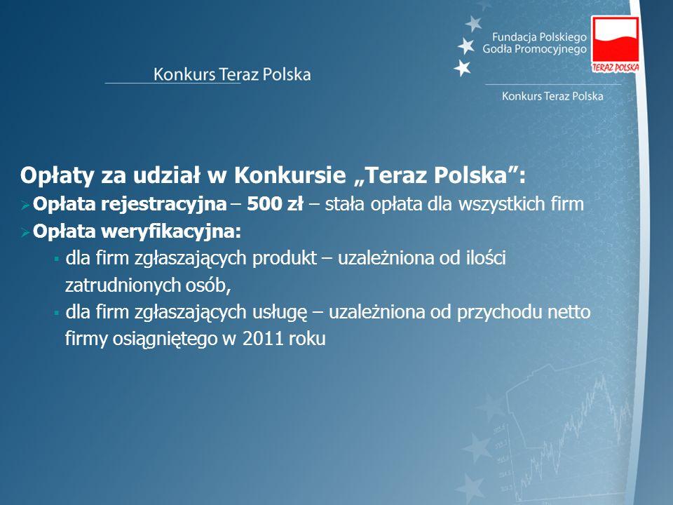 Opłaty za udział w Konkursie Teraz Polska: Opłata rejestracyjna – 500 zł – stała opłata dla wszystkich firm Opłata weryfikacyjna: dla firm zgłaszający