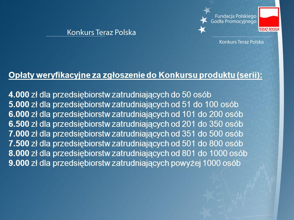 Opłaty weryfikacyjne za zgłoszenie do Konkursu produktu (serii): 4.000 zł dla przedsiębiorstw zatrudniających do 50 osób 5.000 zł dla przedsiębiorstw