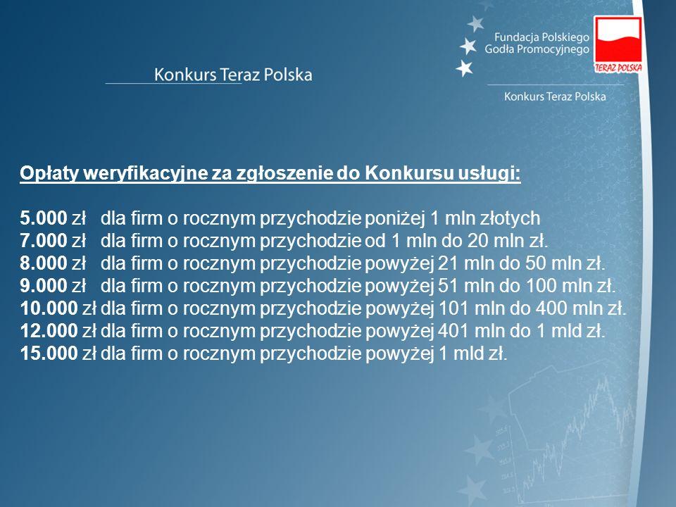 Opłaty weryfikacyjne za zgłoszenie do Konkursu usługi: 5.000 zł dla firm o rocznym przychodzie poniżej 1 mln złotych 7.000 zł dla firm o rocznym przyc