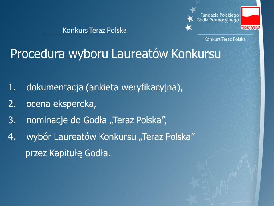 Procedura wyboru Laureatów Konkursu 1. dokumentacja (ankieta weryfikacyjna), 2. ocena ekspercka, 3. nominacje do Godła Teraz Polska, 4. wybór Laureató