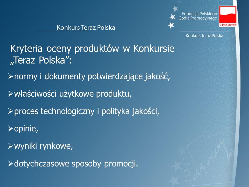 Kryteria oceny produktów w Konkursie Teraz Polska: normy i dokumenty potwierdzające jakość, właściwości użytkowe produktu, proces technologiczny i pol