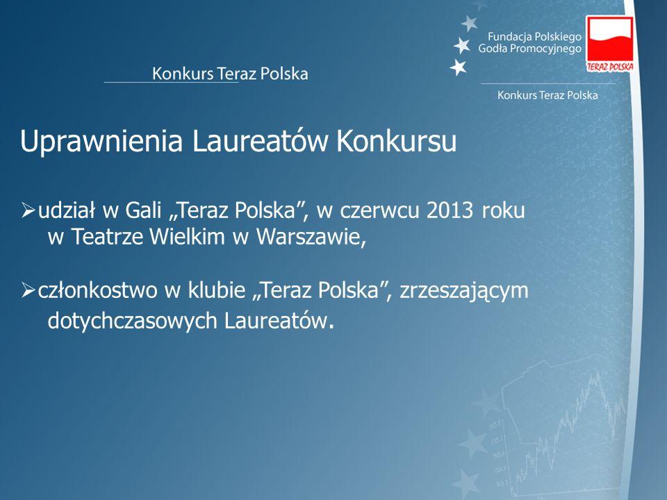 udział w Gali Teraz Polska, w czerwcu 2013 roku w Teatrze Wielkim w Warszawie, członkostwo w klubie Teraz Polska, zrzeszającym dotychczasowych Laureat