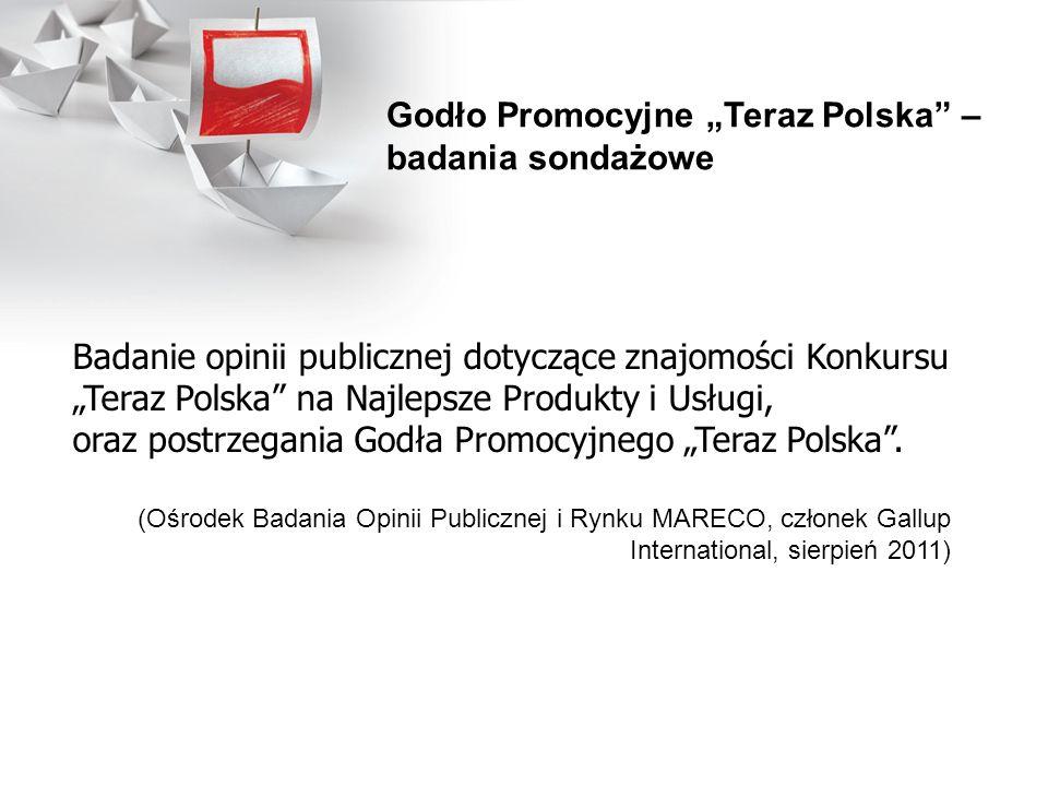 Badanie opinii publicznej dotyczące znajomości Konkursu Teraz Polska na Najlepsze Produkty i Usługi, oraz postrzegania Godła Promocyjnego Teraz Polska