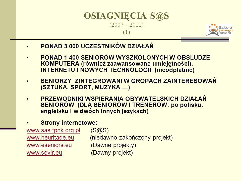 OSIĄGNIĘCIA S@S (2007 – 2011) (2) WYDAJNA WSPÓŁPRACA MIĘDZYNARODOWA (w tym wiele spotkań międzynarodowych i spotkań seniorów z12 krajów partnerskich, 6 konferencji międzynarodowych) OLIMPIADA KOMPUTEROWA (Seniorów) – 4 edycje TRZY KSIĄZKI: (1) Youth in a Fading Wisdom (2) Kraków by Senior Citizens; (3) Małopolska in Our Memory and Photos (also in English) CYKLICZNE WYKŁADY I SEMINARIA (średnio: co 3-4 miesiące)