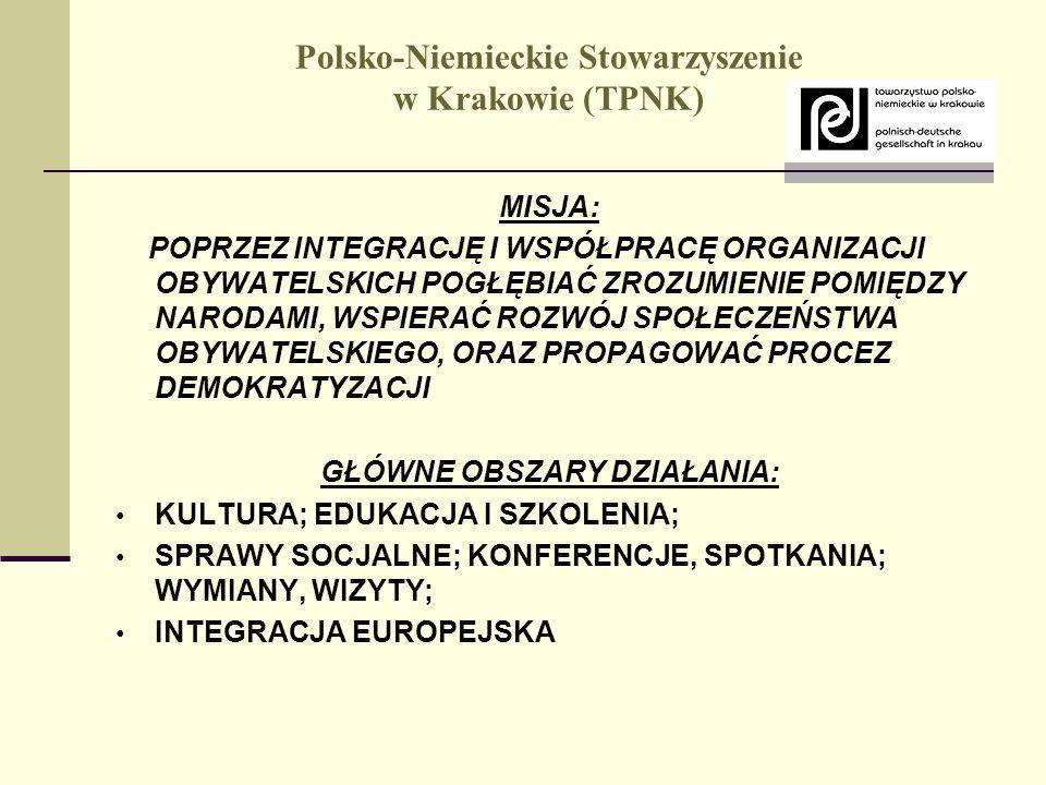 Polsko-Niemieckie Stowarzyszenie w Krakowie (TPNK) MISJA: POPRZEZ INTEGRACJĘ I WSPÓŁPRACĘ ORGANIZACJI OBYWATELSKICH POGŁĘBIAĆ ZROZUMIENIE POMIĘDZY NAR