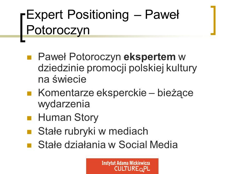 Expert Positioning – Paweł Potoroczyn Paweł Potoroczyn ekspertem w dziedzinie promocji polskiej kultury na świecie Komentarze eksperckie – bieżące wyd