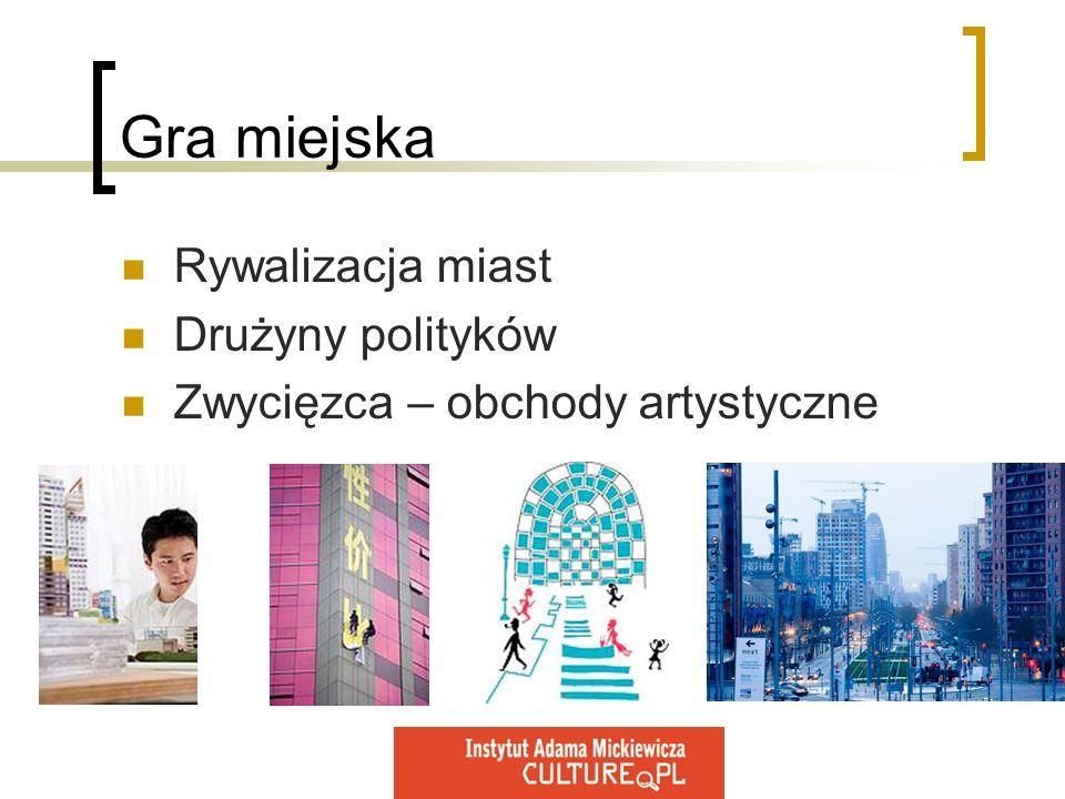 Gra miejska Rywalizacja miast Drużyny polityków Zwycięzca – obchody artystyczne