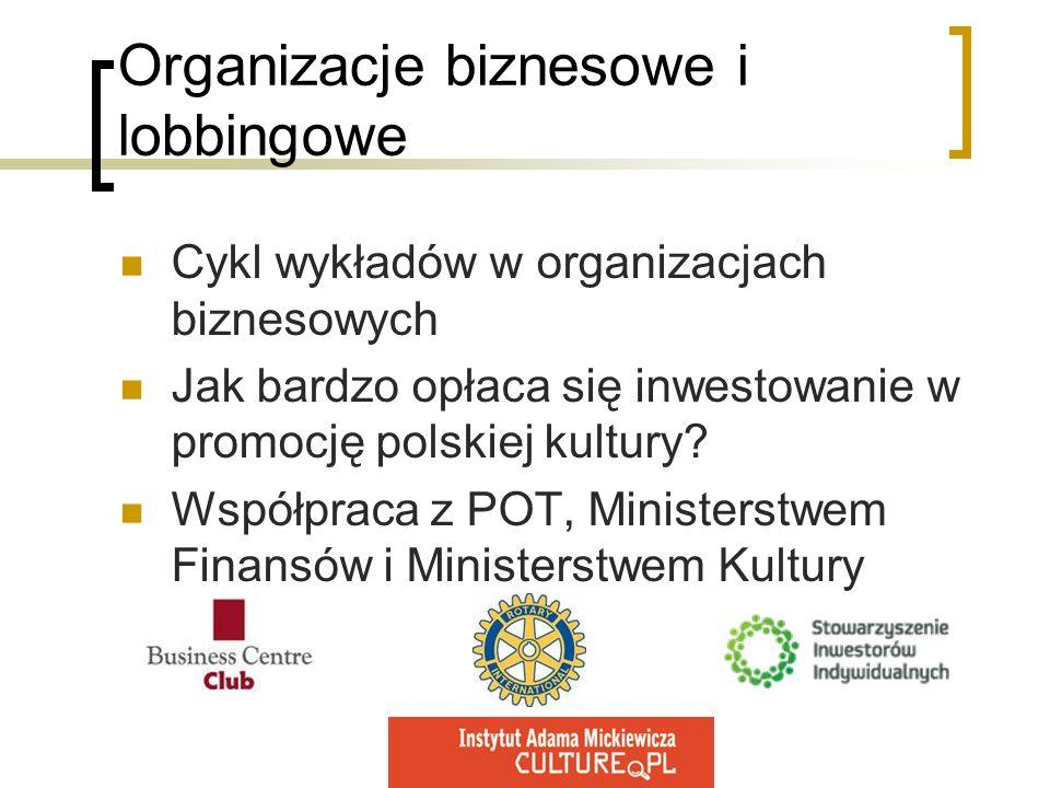 Organizacje biznesowe i lobbingowe Cykl wykładów w organizacjach biznesowych Jak bardzo opłaca się inwestowanie w promocję polskiej kultury? Współprac