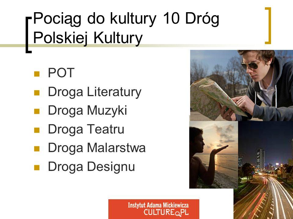 Pociąg do kultury 10 Dróg Polskiej Kultury POT Droga Literatury Droga Muzyki Droga Teatru Droga Malarstwa Droga Designu