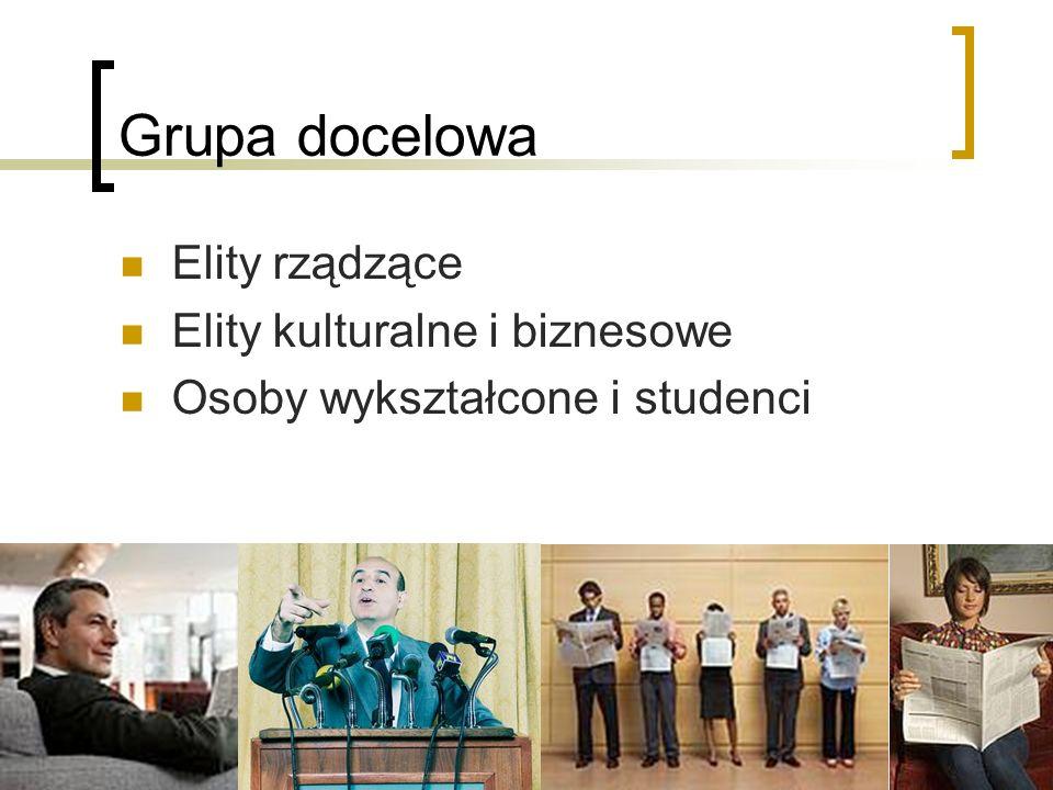 Grupa docelowa Elity rządzące Elity kulturalne i biznesowe Osoby wykształcone i studenci