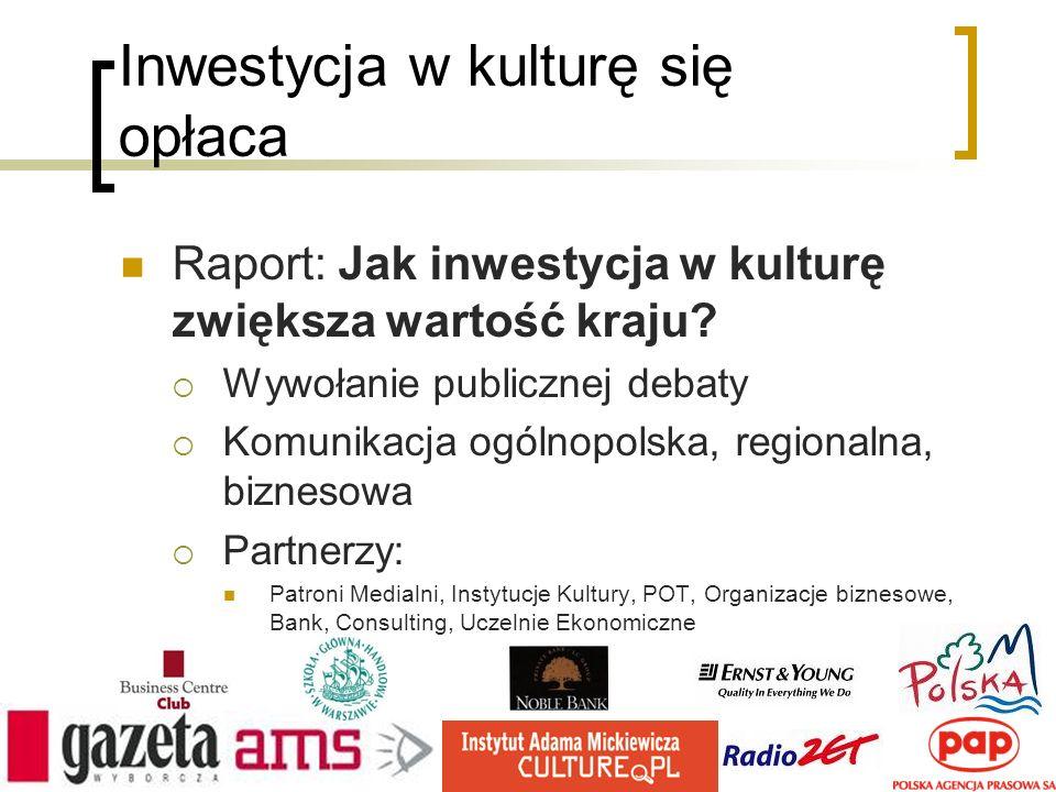 Inwestycja w kulturę się opłaca Raport: Jak inwestycja w kulturę zwiększa wartość kraju? Wywołanie publicznej debaty Komunikacja ogólnopolska, regiona