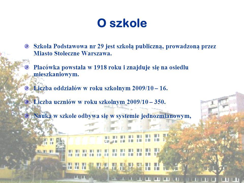 O szkole Szkoła Podstawowa nr 29 jest szkołą publiczną, prowadzoną przez Miasto Stołeczne Warszawa. Placówka powstała w 1918 roku i znajduje się na os