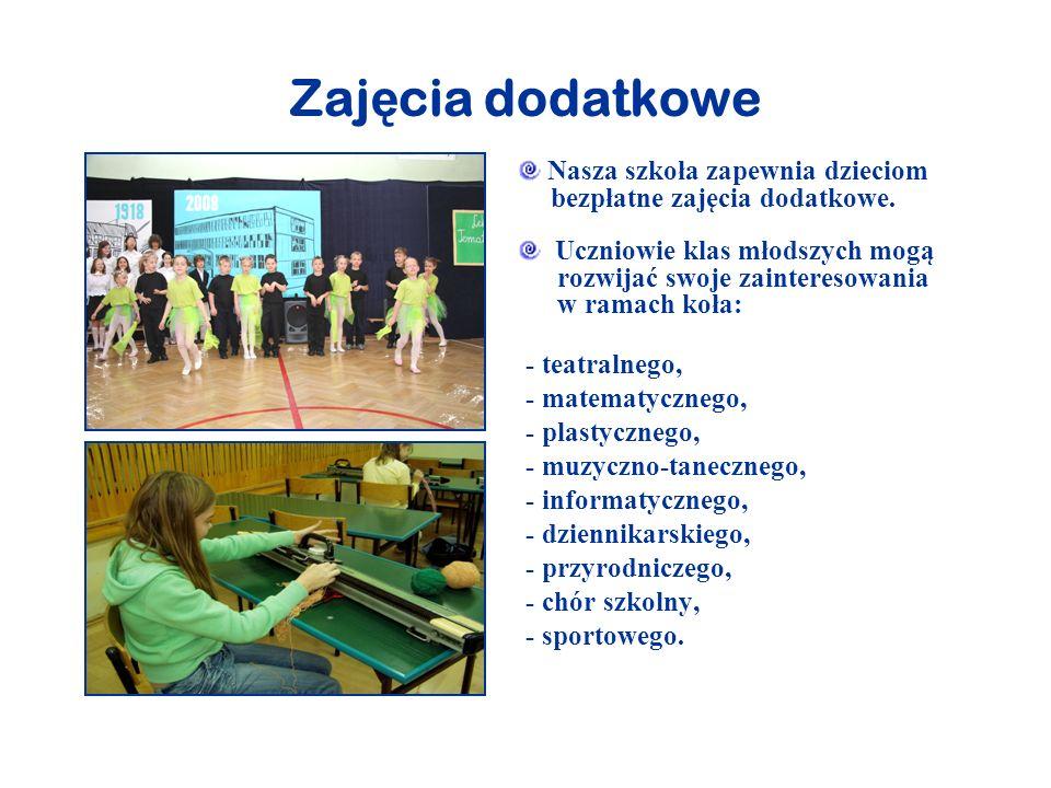 Opieka specjalistyczna Szkoła zatrudnia: logopedę, reedukatora, pedagoga szkolnego, nauczyciela gimnastyki korekcyjnej, prowadzących specjalistyczne zajęcia.